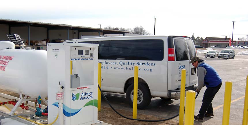 refilling corporate van at propane autogas filling station