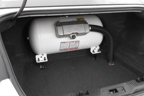 autogas tank installed in car by Sharp AutoGas